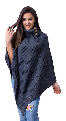 Women's Ladies Poncho Stylish Knitted Jumper Sweater Cape Turtleneck Polo Neck