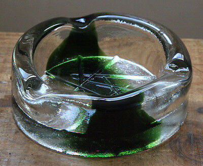 "Vintage Art Glass Ashtray MCM 50s 60s Thick Heavy Green 5.5"" Man Cave Art Deco"