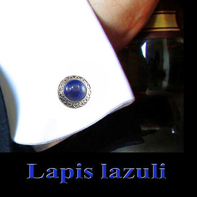 Cuff link Handmade Sterling Silver Egyptian Lapis  Vintage Style Men's Jewelry