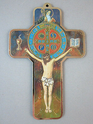 """St Benedict Picture Wall Cross on Wood  5"""" Made in Italy"""