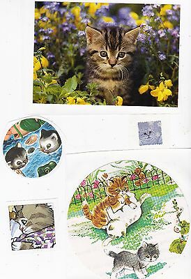 SALE~ Kids Lot of Cats Kittens Stickers x 5 for Crafts Scrapbooking Large Decals