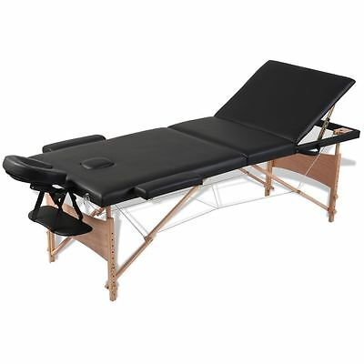 vidaXL 3 Zones Foldable Massage Table with Wooden Frame Black Tattoo Pad Bed
