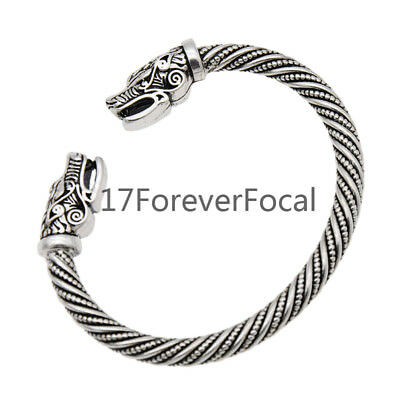Viking Wolf Head Open Bracelet Norse Nordic Vintage Bangle Jewellery Gift Silver