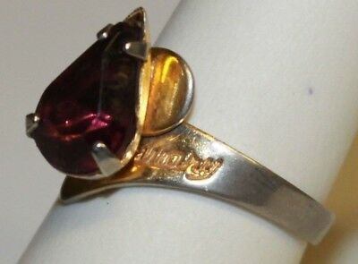 Vintage Gold Tone & Amethyst February Birthstone Adjustable Ring Pear Shaped