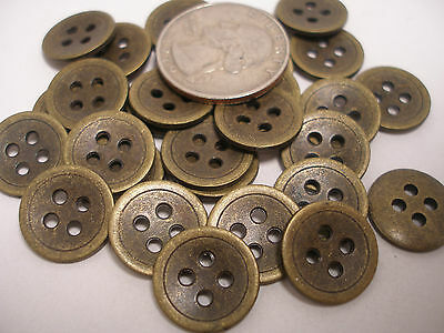 12 New Lot Antique Brass finish Metal Buttons 5/8 15mm  # AB2