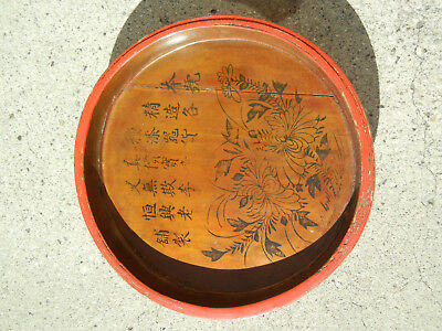 Antique Chinese Wooden Plate Painted with Calligraphy and Makers Name Gilt
