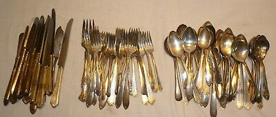 Vtg 103pc Silverplate Flatware Mixed Lot - Craft Spoons Forks Knives - 8 pounds