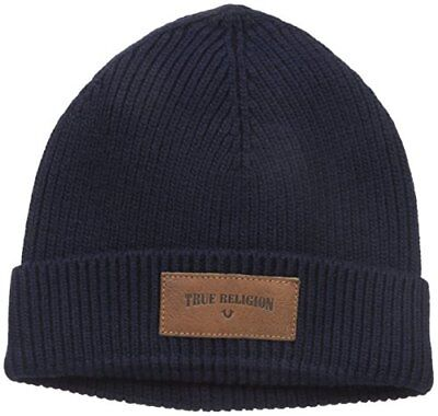 e820c5dcbff TRUE RELIGION MEN S Ribbed Knit Watchcap Leathe Patch Beanie in Navy ...