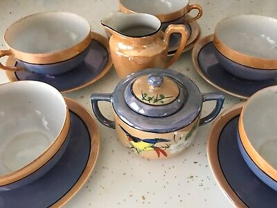 14 Pc Blue and Peach Lusterware, Cups, Saucers, Creamer, Sugar With Lid