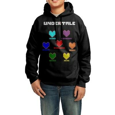 (M) - YHTY Youth Unisex Hoodie Undertale Colourful Hearts Soul Black