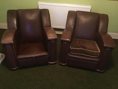 Vintage Art Deco leather chairs (MATCHING PAIR)