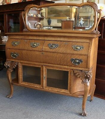 Antique Oak Mirrored Sideboard - Carved Griffin Legs