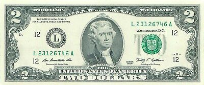 2009 series L/A (SAN FRANCISCO) $2 Federal Reserve Note Two Dollar Bill