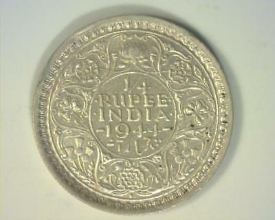 India 1944-B Silver Quarter-Rupee .0466 Asw Km547  About Uncirculated ~212752-K