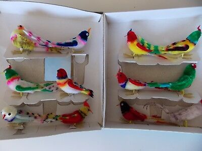 """Vintage Lot of 12 Chenille Bird Ornaments 2.5-3"""" Original Box People's Rep China"""