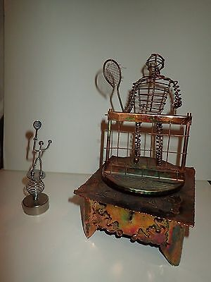 Lot of 2 Metal Tennis Sculptures - Vintage Wire Tennis Music Box - Small bobbles