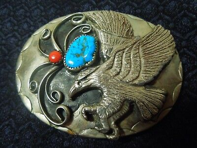 Vintage German Silver Turquoise Coral Flying Eagle Edition Belt Buckle c1970s