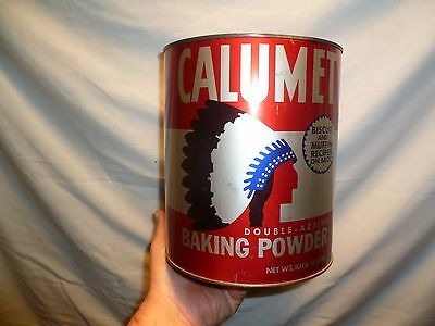 Large Vtg 10 Lb Can Calumet Baking Powder Commercial Bakery Kitchen Tin
