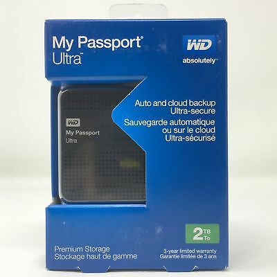 WD My Passport Ultra 2 TB Portable External USB 3.0 Hard Drive Auto Backup Black