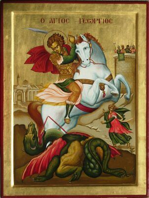 Saint George the Trophier- HAND PAINTED  Eastern Orthodox Byzantine icon