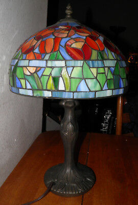 """TIFFANY Style Stained Glass TULIP/Flower LAMP 12x20"""" Tall Preowned No Cracks BIN"""