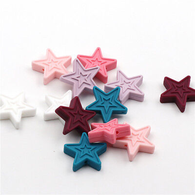 Star Silicone Teether Beads DIY Baby Teething Pacifier Chewable Necklaces Making