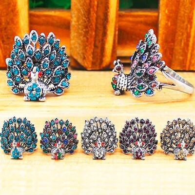 Wholesale Lot 10 pcs Crystal Peacock Rings Antique Silver Plated Fashion Jewelry