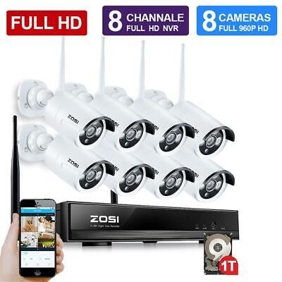 ZOSI 1080p 8CH NVR IP Outdoor Wireless Security Camera System Home CCTV 1TB HDD
