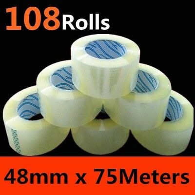 Clearance 108Rolls 48mm 75Meter Packing Tape Packaging Sticky Clear P5OZZIE5%off