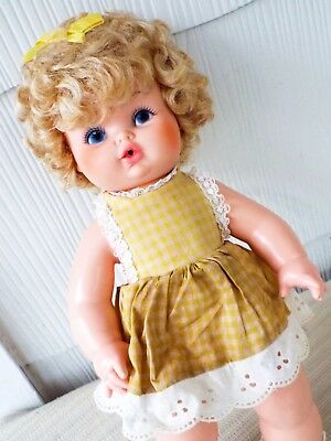 """VTG EEGEE SOFTINA DRINK WET Baby Toddler Doll+ dress bow BLONDE CURLY HAIR 14"""""""