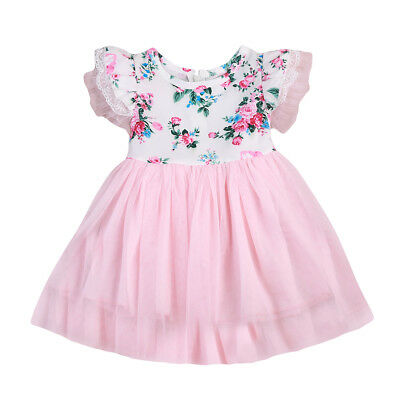 AU Stock Summer Toddler Baby Girl Skater Dress Kid Floral Princess Party Dresses