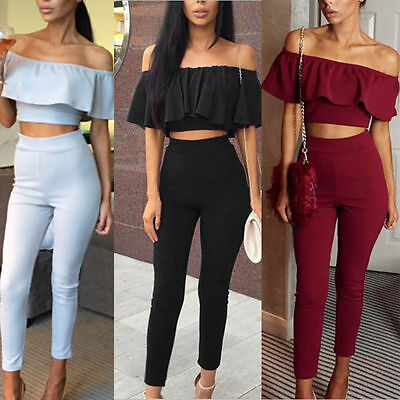 Women Crop Tops Long Pants Clothing Set Sexy 2 piece Ladies Bodycon Jumpsuit LS