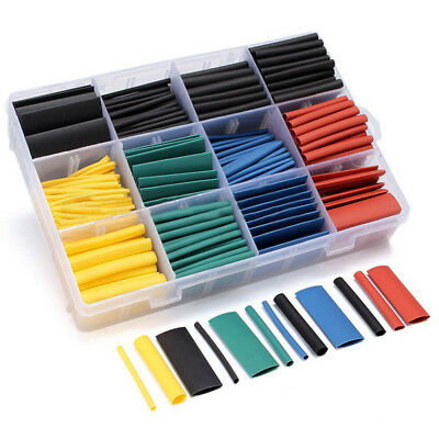Pro 530pcs 5 Colors 8 Sizes Assorted 2:1 Heat Shrink Tubing Wrap Sleeve Kit Box