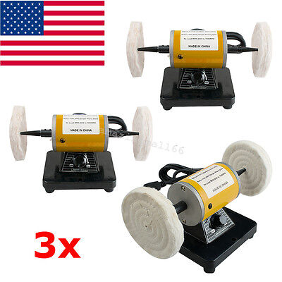 3x USA Mini Polisher Polishing Machine Dental Lathe Bench Buffing Grinder 260W