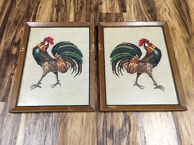 Antique Vintage PAIR OF NEEDLEPOINT Framed ROOSTERS 2 Country Decor 17 X 13 NICE