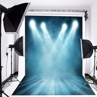 7X5FT Blue Stage Light Scene Photography Backdrop Photo Background Studio Props