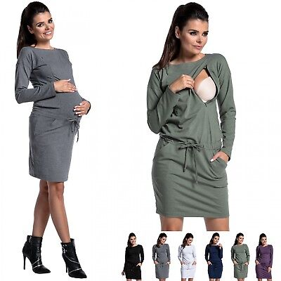 Zeta Ville - Women's Maternity Nursing Tunic-Dress Crew Neck Long Sleeves - 709c