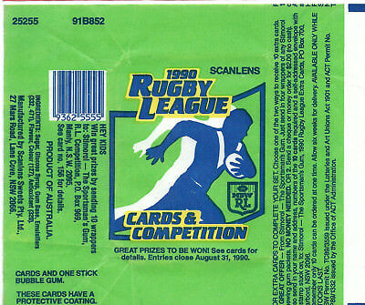 Scanlens - 1990 Rugby League (NRL) - Card Wrapper - NO TEARS / RIPS