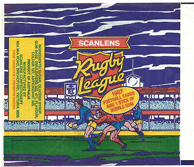 Scanlens - 1987 Rugby League (NRL) - 1x Card Wrapper - NO TEARS / RIPS