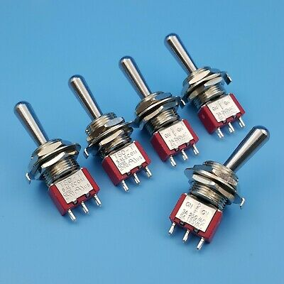 5Pcs SH T8014-Z1 12mm 3Pin ON-OFF-ON Maintained Large Handle Mini Toggle Switch