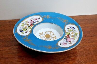 Sevres? Turquoise Ground Hand Painted Flowers & Gilt Trembleuse Saucer VGC