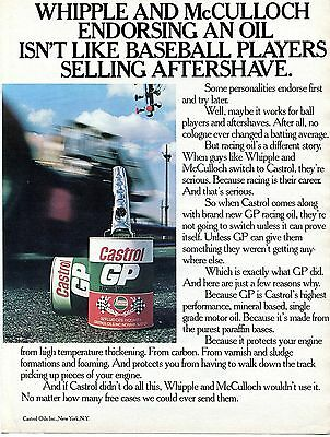 1972 Castrol GP Racing Motor Oil Whipple & McCulloch Drag Racing Print Ad