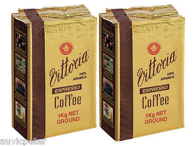 2 Packs 1kg Vittoria Espresso Coffee Ground in Vacumm Pack, 100% ARABICA 2x1kg