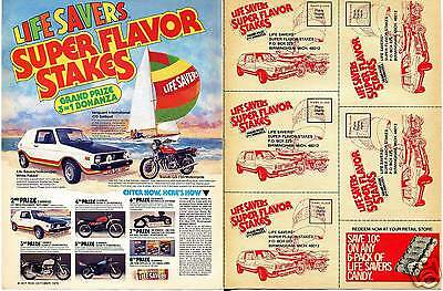 1976 Life Savers 2 Page Ad Super Flavor VW Rabbit & Suzuki Stakes Entry Forms Ad