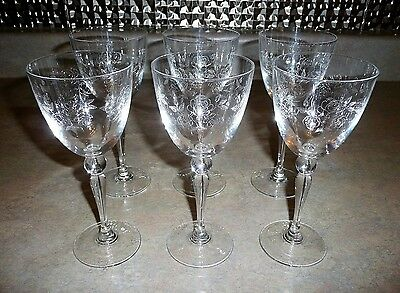 Set of 6 ROSERAIE 24% Lead Crystal ETCHED ROSES Cristal D'Arques WINE Glasses