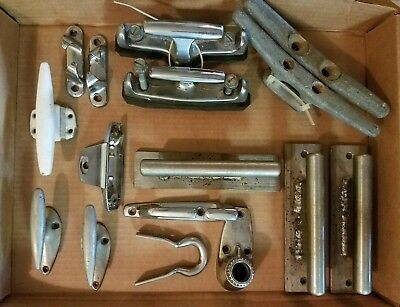 Vintage Lot Ship Sail Boat Cleats Rope Tie Downs Hardware Marine Parts Steel Old