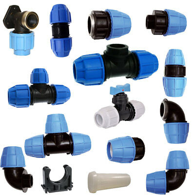 MDPE Plastic Compression Fitting 50 mm O/D PE100 LDPE Water Pipe WRAS Approved