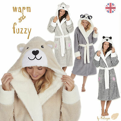 Forever Dreaming Ladies Novelty Animal Dressing Gown Snuggle Fleece Hooded Robe