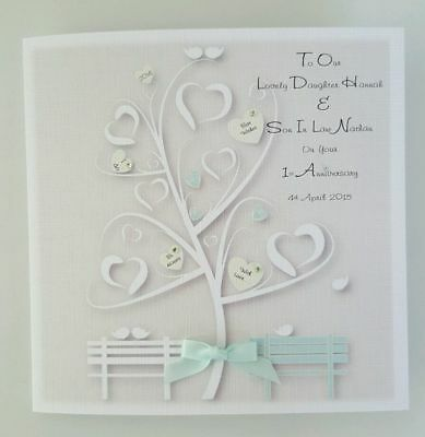 *Personalised Daughter & Son In Law 1st Anniversary Card ANY YEAR PERSON COLOUR*