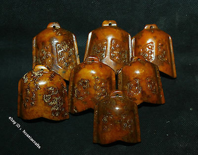 6.5cm Collect China White Jade Jadeite Hand-carving 7 Chime Buddhist bell Statue